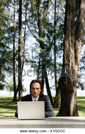 Businessman in park, using laptop - Stock Photo
