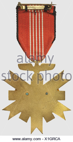 A German Olympic Games Decoration, 2nd Class. Gilt non-ferrous metal, white enamelled areas, separately riveted Olympic Rings. With ribbon. In a white award presentation case with gold stamping (Nie 6.02.21 b), historic, historical, 1930s, 20th century, awards, award, German Reich, Third Reich, Nazi era, National Socialism, object, objects, stills, medal, decoration, medals, decorations, clipping, cut out, cut-out, cut-outs, honor, honour, National Socialist, Nazi, Nazi period, symbol, symbols, emblem, emblems, insignia, Additional-Rights-Clearences-NA - Stock Photo