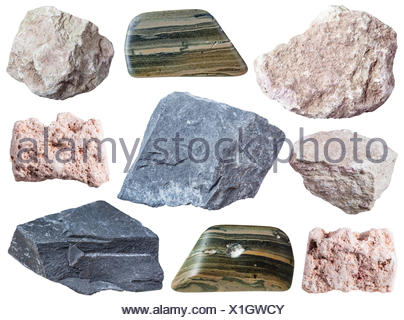 collection of specimens of mud minerals - Stock Photo