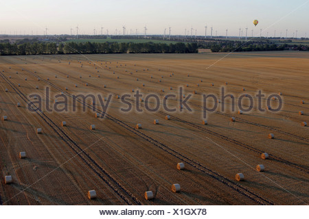 Magdeburg, Germany, aerial photography, hay bales on a mown field - Stock Photo