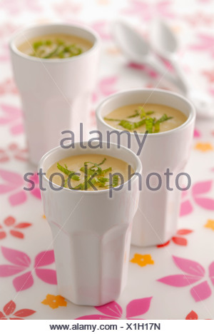 Apricot mousse with fresh mint - Stock Photo
