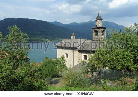 Italy, Piemont, Orta, Ronco, lake, Kirch, scenery - Stock Photo