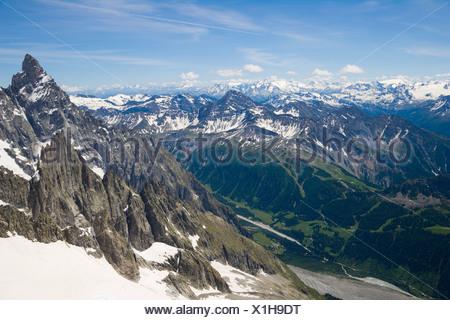 Aiguille Noire de Peuterey, Les Glaciers de la Vanoise, La Grande Motte and Val Veny, Mont Blanc Massif, Alps, Italy, Europe - Stock Photo