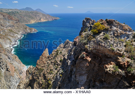 Cliffs of Lipari island, Aeolian Islands, Sicily, southern Italy, Italy, Europe - Stock Photo