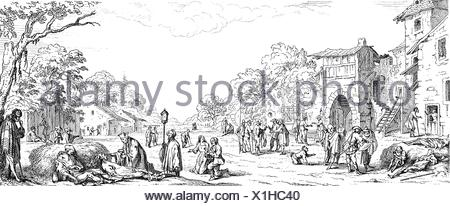 events, Thirty Years' War, 1618 - 1648, soldiers as beggars, wood engraving, 19th century, after a depiction from the series 'The Large Miseries of War' (Les Grand Miseres de la Guerre) by Jacques Callot, 1633, Additional-Rights-Clearences-NA - Stock Photo