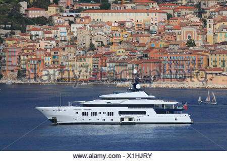 Hermitage, a cruiser built by Luerssen Yachts, length: 68.15 m, built in 2011, anchored off the bay of Villefranche - Stock Photo