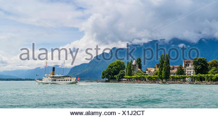 Steamboat on the Lake Geneva near Vevey - Stock Photo