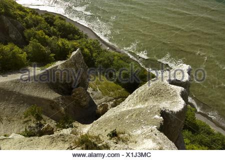 view from Victoria viewpoint to chalk cliffs, Germany, Mecklenburg-Western Pomerania, Ruegen, Jasmund National Park - Stock Photo