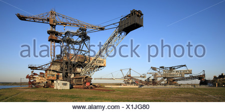Graefenhainichen, digger on formerly brown coal surface mining, Germany, Saxony-Anhalt - Stock Photo