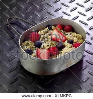 Muesli with Berries - camping - Stock Photo