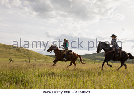Female ranchers galloping horseback in remote sunny field - Stock Photo