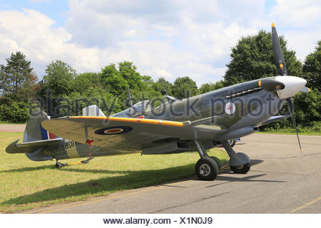 Vintage aircraft Spitfire Mk VIIIc, D-FEUR - Stock Photo