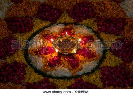 Flower rangoli - Stock Photo