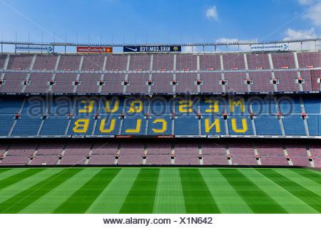 Camp Nou stadium interior, Barcelona, Spain. - Stock Photo