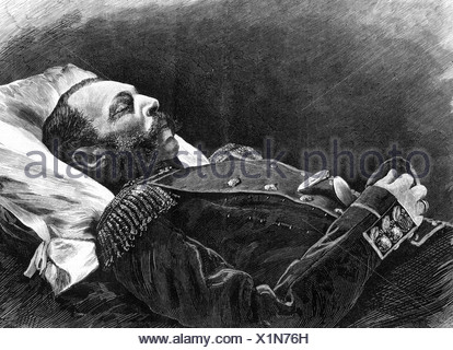 Alexander II Nikolayevich, 29.4.1818 - 13.3 1881, Emperor of Russia 18.2.1855 - 13.3.1881, his death, lying on deathbed, murderd by assassin, St. Petersburg, wood engraving, 1881, Additional-Rights-Clearances-NA - Stock Photo