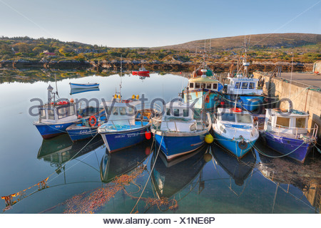 Fishing boats in Ballycrovane Harbour, Eyeries, Beara Peninsula, County Cork, Ireland, British Isles, Europe - Stock Photo