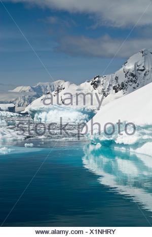 Pack ice and icebergs, Antarctica. - Stock Photo
