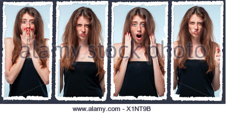 Set of young woman's portraits with different emotions - Stock Photo