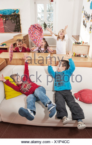 Children In Nursery School, Kottgeisering, Bavaria, Germany, Europe - Stock Photo