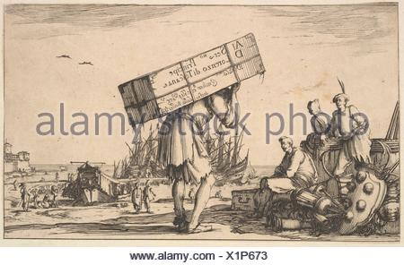 Title page: a man carrying a case on his back in center, three men looking towards him on left, Medici coat of arms on ground to left, various boats - Stock Photo