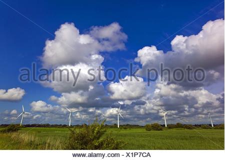 five wind wheels near Dorum, Germany, Lower Saxony - Stock Photo