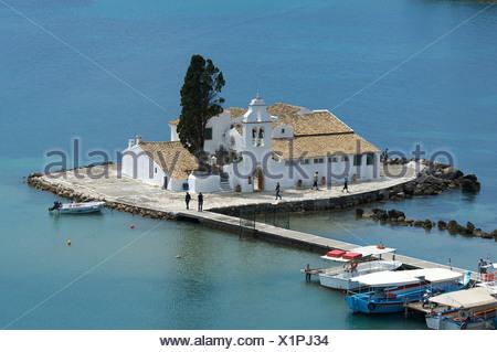 View from Kanoni to Vlacherna Island with the monastery, and Mouse Island, near Kerkyra, Corfu, Ionian Islands, Greece, Europe - Stock Photo
