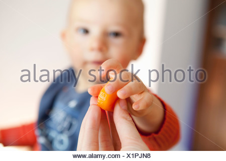 Mother hand baby boy piece of fruit - Stock Photo
