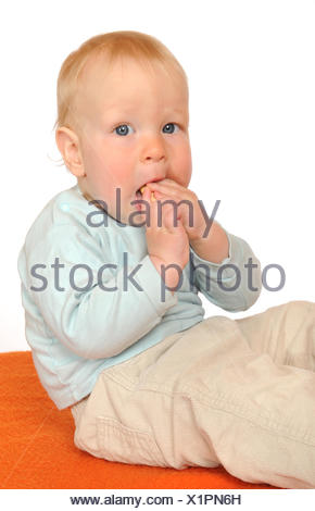 baby, eating, eat, eats, isolated, optional, scrabble, crawling, baby, - Stock Photo