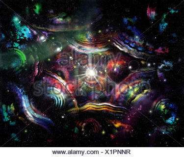 abstract picture painted by me called 'endlessness', it shows colorful structures in spacy ambiance - Stock Photo