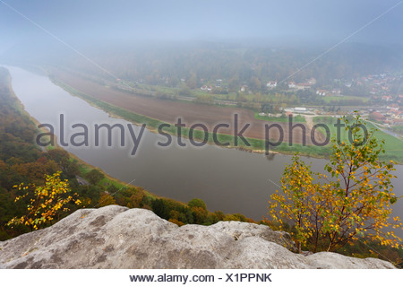 view from Bastei to river Elbe in morning fog, Germany, Saxony, Saxon Switzerland National Park, Rathen - Stock Photo