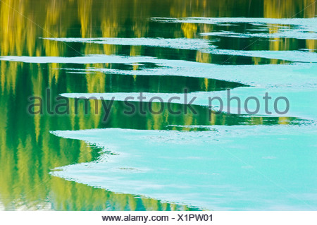 Ice pattern on Waterfowl Lake in spring, Banff National Park, Alberta, Canada. - Stock Photo