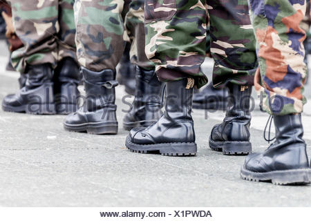 Members of a right-wing Hungarian party wearing combat boots, symbolic image for right-wing extremism, Budapest, Hungary - Stock Photo