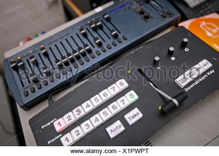 Close-up of sound recording equipment in television studio - Stock Photo
