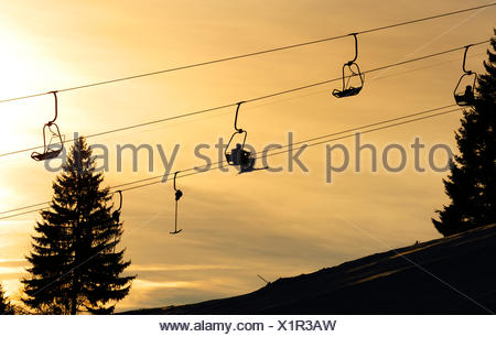 Chair lift in Gruenten ski resort, Upper Allgaeu, Swabia, Bavaria - Stock Photo