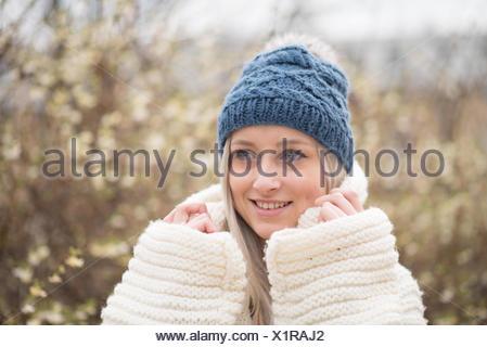 Woman wearing warm clothing - Stock Photo