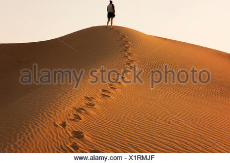 Woman standing on a sand dune in the desert, Dubai, UAE - Stock Photo