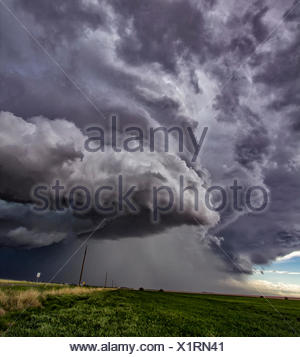 Rotating supercell clouds over rural area, Cope, Colorado, United States, North America - Stock Photo