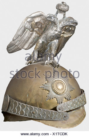 A child's helmet, Horse Guards A toy helmet for children of the pattern used by the Cuirassier Guards. Brass. White alloy helmet eagle. Back of the wings missing. Stamped metal chinstrap. Leather lining. historic, historical, 19th century, object, objects, stills, clipping, clippings, cut out, cut-out, cut-outs, helmet, helmets, headpiece, headpieces, utensil, piece of equipment, utensils, protection, headgear, headgears, uniform, uniforms, Additional-Rights-Clearances-NA - Stock Photo