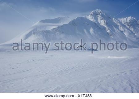 Sweden, Lapland, Sarek National Park, Pierikpakte, Mountain in winter - Stock Photo