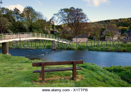 Bridge Over River Coquet, Rothbury, Northumberland, England - Stock Photo