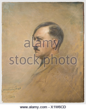 Nikola Michailow (1876 - 1960), a portrait of Adolf Hitler Oil on carton. Hitler sitting, head turned to the right. Signed and dated at lower right 'Nic.Michailow 1933'. Ca. 70 x 57 cm. Professor Nikola Michailow was born 1876 in Sumen, Bulgaria, he died 1960 in Hamburg. He studied at the Academy in Munich, was a professor in Sofia and court painter of Bulgarian Tsar Ferdinand, domiciled in Berlin from 1910. During the 1920s and 30s he developed into one of the great portraitists and painted, among others, the Bulgarian royal family, King Ferdinand, Tsar Boris , Additional-Rights-Clearances-NA - Stock Photo