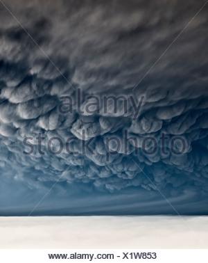 Under Grimsvotn Volcanic Eruption in the Vatnajokull Glacier, Iceland - Stock Photo