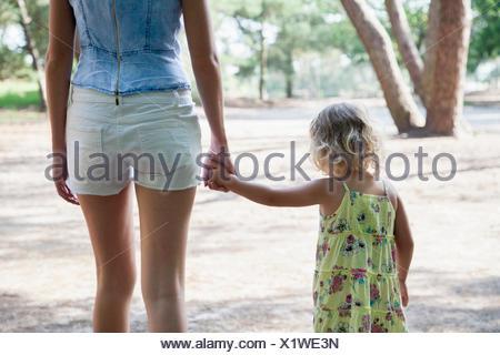 Netherlands, Nationaal Park De Loonse en Drunense Duinen, Rear view of mother and daughter (2-3) holding hands - Stock Photo