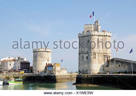 Tour Saint Nicolas and Tour de la Chaine, towers, harbour, La Rochelle, Poitou Charentes, France, Europe - Stock Photo