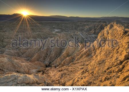USA, California, Anza-Borrego Desert State Park, Landscape at sunset - Stock Photo