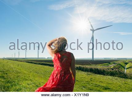 Mature woman standing in field, watching wind turbines on windfarm, rear view, Rilland, Zeeland, Netherlands - Stock Photo