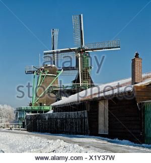 Netherlands, Holland, Europe, Zaandam, North Holland, windmill, winter, snow, ice, Windmills, river, Zaan - Stock Photo