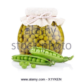 Jar of green pea with fresh pods isolated on white - Stock Photo