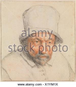 Head of a Bearded Man in a Hat. Artist: Adriaen van Ostade (Dutch, Haarlem 1610-1685 Haarlem); Date: ca. 1650; Medium: Black and red chalk, blue - Stock Photo