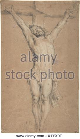 Christ on the Cross; verso: St. Jerome Reading by Candlelight, and Sketch of Male Torso (?). Artist: After Anthony van Dyck (Flemish, Antwerp - Stock Photo